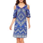 Luxology Cold-Shoulder Peasant Dress