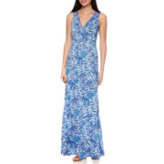 St. John's Bay® Sleeveless Print Surplice Tiered Peasant Maxi Dress