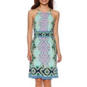 London Style Collection Sleeveless Paisley Print Dress