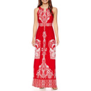 Studio 1® Sleeveless Scroll Placed Print Maxi Dress