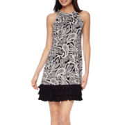 R&K Originals® Sleeveless Paisley Print Triple-Tier Shift Dress