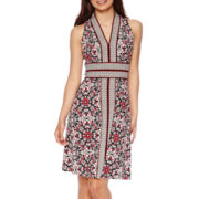 London Style Collection Sleeveless Halter Border Print Dress