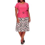 Perceptions Short-Sleeve Skirt Suit - Plus