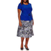 Perceptions Short-Sleeve Buckle Top and Flare Skirt 2-pc. Set - Plus
