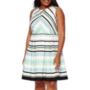 Danny & Nicole® Sleeveless Chevron Fit-and-Flare Dress - Plus