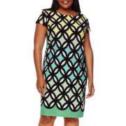 R&K Originals® R&K Originals Cap-Sleeve Geo Sheath Dress - Plus