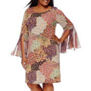 MSK Long-Sleeve Peacock Print Sheath Dress - Plus