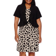 Danny & Nicole® Short-Sleeve Dot Jacket Dress - Plus