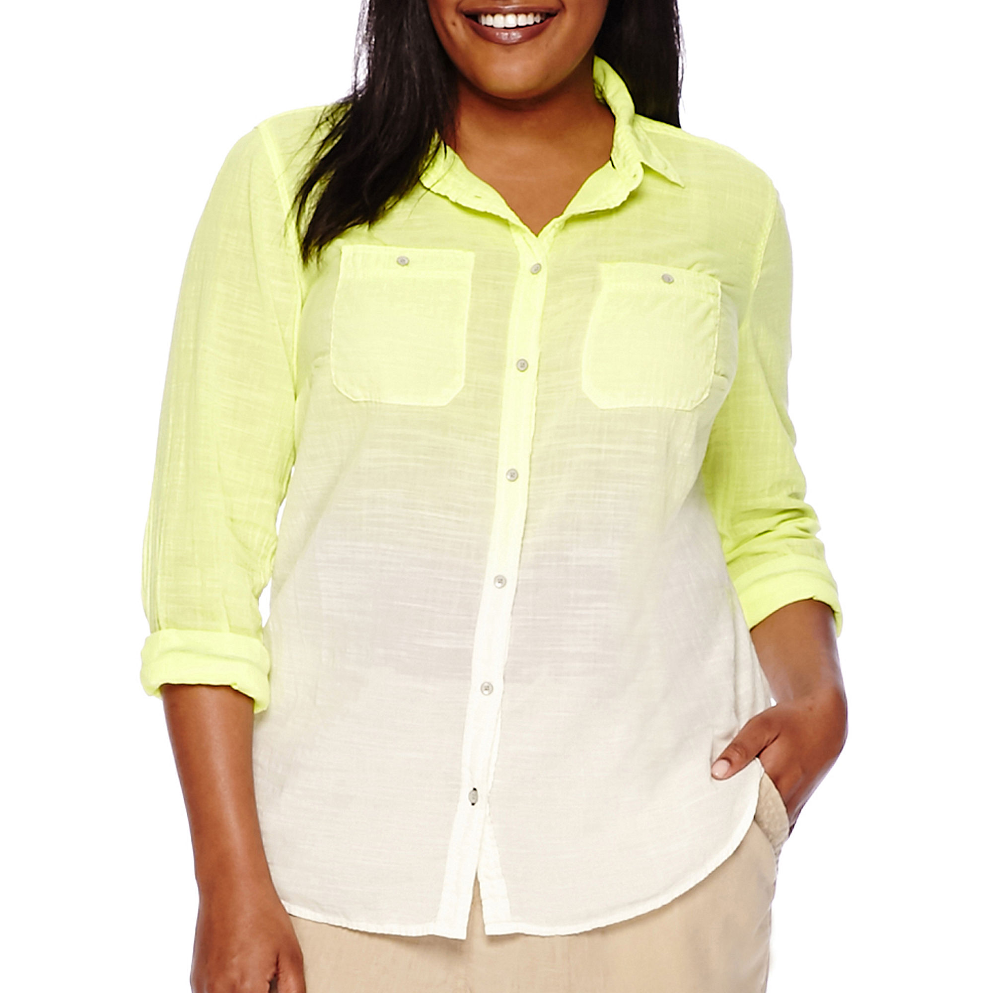 Stylus™ Long-Sleeve Dip-Dyed Gauze Shirt - Plus plus size,  plus size fashion plus size appare