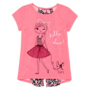Okie Dokie® Short-Sleeve Woven Top - Preschool Girls 4-6x