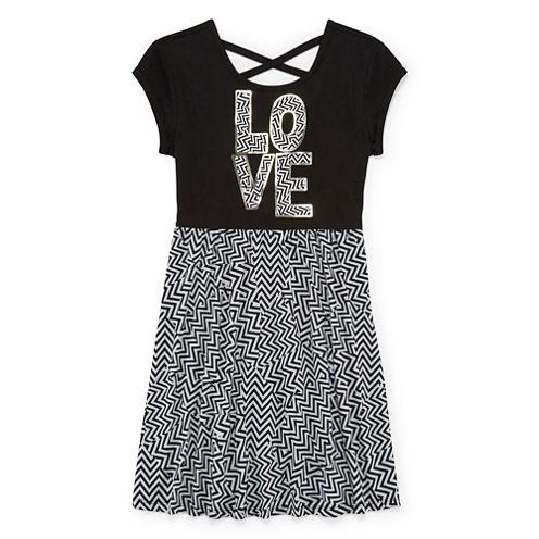 Total Girl® Short-Sleeve Chevron Cross-Back Skater Dress - Girls 7-16 and Plus
