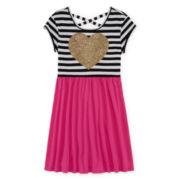 Total Girl® Short-Sleeve Cross-Back Skater Dress - Girls 7-16 and Plus