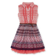 Knit Works® Sleeveless Belted Shirtdress - Girls 7-16