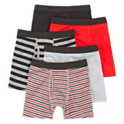 Arizona 4-pk.+1 Bonus Cotton Boxer Briefs- Boys 2-20