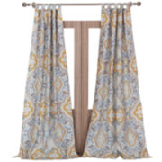 Greenland Home Fashions Vahalla Gold 2-Pack Rod-Pocket/Tab-Top Curtain Panels