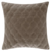 "Madison Park Velvet Ogee-Quilted 20"" Square Feather Pillow"