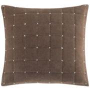 """Madison Park Velvet Box-Quilted 20"""" Square Pillow"""