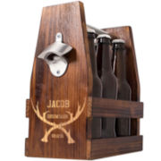 Cathy's Concepts Personalized Groomsman Antlers Rustic Craft Beer Carrier with Bottle Opener