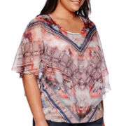 Unity® Short-Sleeve V-Shape Chiffon Top with Printed Tank Top - Plus