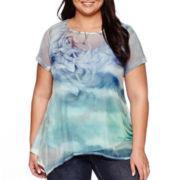 Unity® Short-Sleeve Woven Overlay Back Netting Top - Plus