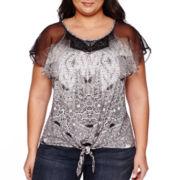 Unity® Chiffon Short-Sleeve Flutter Tie Front Top - Plus