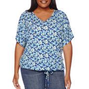 Liz Claiborne® Short-Sleeve Kaftan Tee - Plus