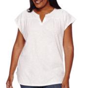 Liz Claiborne® Short-Sleeve Split Front Lace Yoke Tee - Plus