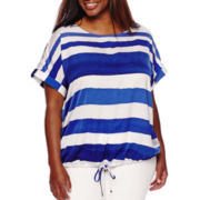 Liz Claiborne® Short-Sleeve Dolman Blouse - Plus