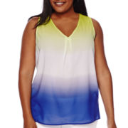 Liz Claiborne® Pleated Ombre Tank Top - Plus