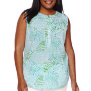 Liz Claiborne® Sleeveless Popover Henley Top - Plus