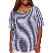 Liz Claiborne® Elbow-Sleeve Boatneck Stripe Tee - Plus