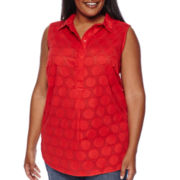 Liz Claiborne® Sleeveless Clip Dot Tunic - Plus
