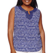 Liz Claiborne® Sleeveless Split Neck Blouse - Plus