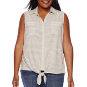 Liz Claiborne® Sleeveless Tie-Waist Top - Plus