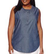 Liz Claiborne® Sleeveless Popover Henley Top - Plus