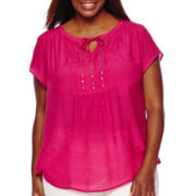 Liz Claiborne® Short-Sleeve Pintuck Peasant Blouse - Plus