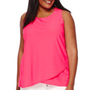 Worthington® Sleeveless Drape-Front Top - Plus