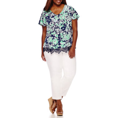 jcpenney.com | Liz Claiborne® Flutter Sleeve Lace Trim Top or Emma Ankle Pants - Plus