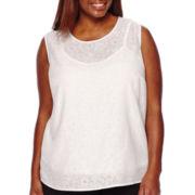 Liz Claiborne® Sleeveless Lace Blouse - Plus
