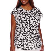 Liz Claiborne® Short-Sleeve Overlap Front Blouse - Plus