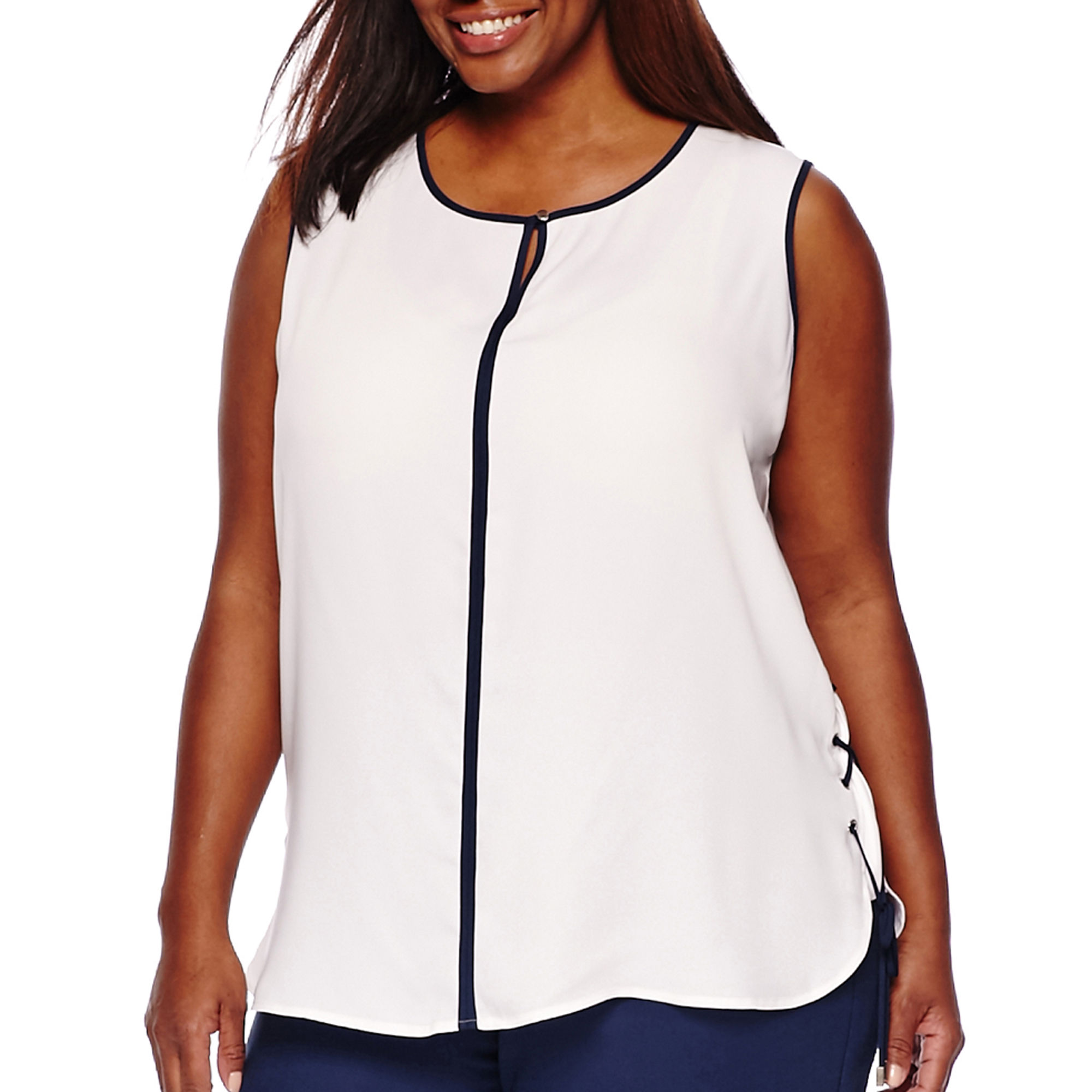 Liz Claiborne Sleeveless Side Lace-Up Top - Plus