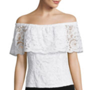 Bisou Bisou® Sleeveless Off-the-Shoulder Lace Top