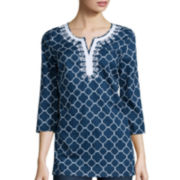 St. John's Bay® 3/4-Sleeve Embroidered Tunic