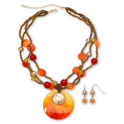 Mixit™ Orange Coral Shell Necklace & Earrings Set
