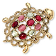 Liz Claiborne® Gold-Tone Multicolor Turtle Pin