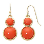 Liz Claiborne® Orange Double-Drop Earrings