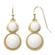 Liz Claiborne® Gold-Tone White Double-Drop Earrings