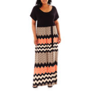 a.n.a® Short-Sleeve Chevron Print Maxi Dress - Plus
