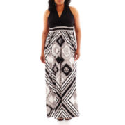 London Style Collection Print Halter Maxi Dress - Plus
