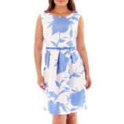 Danny & Nicole® Cap-Sleeve Belted Fit-and-Flare Dress - Plus